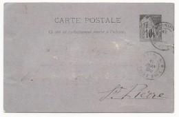 REUNION - 1889 - CARTE ENTIER POSTAL TYPE ALPHEE Avec OBLITERATION De SAINT PAUL Pour SAINT PIERRE - Réunion (1852-1975)