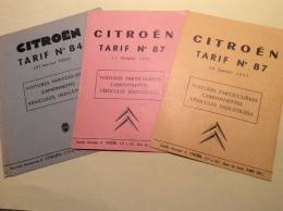 Lot De 3 Anciens Tarifs Citroen 1955 1956 1957 - Publicités