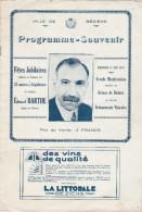 VILLE DE BEZIERS PROGRAMME SOUVENIR DIMANCHE 27 JUIN 1937 FETES JUBILAIRES EDOUARD BARTHE    TDA101 - Programmes