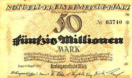 ALLEMAGNE  50 MILLIONEN  MARK 1923. - [ 3] 1918-1933 : République De Weimar