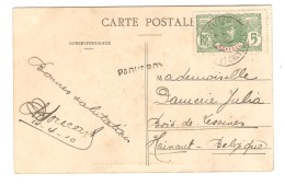 AOF Sénégal TP 5 C S/CP Jeune Dahoméenne Griffe Paquebot En 1910 V.Bois De Lessines Belgique PR3017 - Senegal (1887-1944)