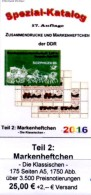 DDR-Katalog RICHTER 2016 Teil 2 Markenheftchen Neu 25€ Standard Heftchen+Abarten Booklet+error Special Catalogue Germany - Catalogues