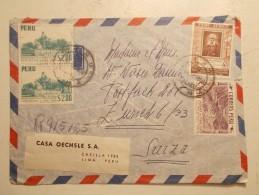 Marcophilie - Lettre Enveloppe Cachet Timbres Oblitération - PEROU - 19/07/1958 (66) - Peru