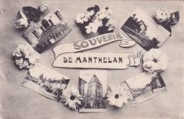 CPA 37 @ MANTHELAN @ Souvenir 1913 - 5 Vues Dont Les Sapeurs Pompiers Lors Du Salut Au Drapeau @ Cachet Convoyeur Esvres - Autres Communes