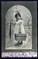 CPA . PETITE FILLE . Malle En Osier , Coiffure ; Oblitération Tarare 1905  . Voir Recto - Verso     (T829) - Portraits