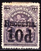 Rhodesia 1909 10p On 3p Surcharge In Black. Scott 91a. MH. - Gran Bretagna (vecchie Colonie E Protettorati)