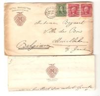 US Ctover From N.Y.1908 Hotel Manhattan To Meirelbeke Belgium Arrival Cancellation PR3020 - Etats-Unis