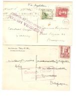 Spain-Espana-Espagne 2 CP San Sebastian&Tenerife1938-39 Censura Militar S.C.de Tenerife&S.Sebastian To Belgium PR3025 - 1931-Today: 2nd Rep - ... Juan Carlos I