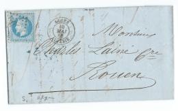 LETTRE 20 C  EMPIRE  ALGER  A  ROUEN  GC - Marcophilie (Lettres)