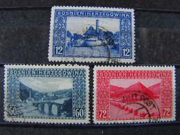 "AUSTRIA BOSNIA -1912- ""Vistas"" Cpl. 3 Val. US° (descrizione) - Oriente Austriaco"