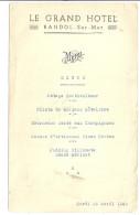 LE GRAND HOTEL - BANDOL SUR MER   26AVRIL 1949 - Menus