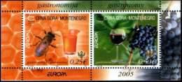 Montenegro 2005 Europa CEPT, Gastronomy, Bee, Grapes, Block, Souvenir Sheet MNH - Montenegro