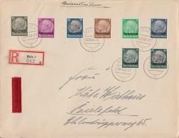 Lothringen R-Brief Eilbote Mif Minr.1,2,3,4,11,12,13,14 Metz 10.12.40 Gel. Nach Bielefeld - Besetzungen 1938-45