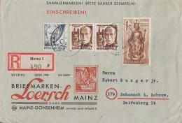 Rhld.-Pf. R-Brief Mif Minr.1, 2x 2, 15 Mainz 28.10.47 - Französische Zone