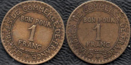 FRANCE 1924-1925 Domard 1F Lot De 2 Pièces De Monnaie / Coin / Münze Bronze [J01h] - France