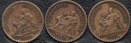 FRANCE 1921-1922 Domard 1F Lot De 3 Pièces De Monnaie / Coin / Münze Bronze [J01i] - Collections