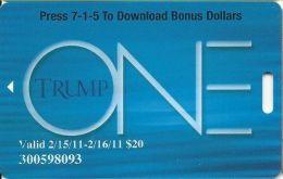 Trump One Atlantic City NJ - $20 Bonus Card - No Text Over Mag Stripe - Casino Cards