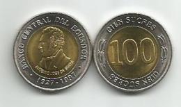 Ecuador 100 Sucres 1997. UNC Bimetallic - Ecuador
