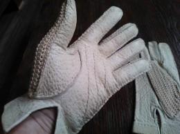 Handschoenen, Leder En Soort Haakwerk, Vintage, Beige - Habits & Linge D'époque