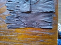 Handschoenen, Herte Leder , Vintage, Bruin, Duim Stuk: Zie Foto - Habits & Linge D'époque