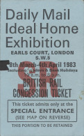 QX1037 British Rail Concession Ticket 1983 Daily Mail Ideal Home Exhibition - Railway