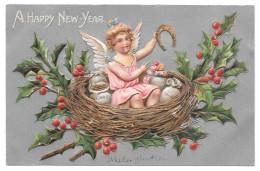 Happy New Year Angel Cherub In Nest Horseshoe Money Bags Silver Gilt Fantasy Postcard - New Year