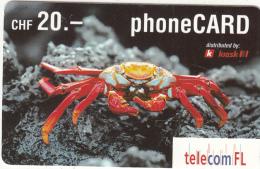 LIECHTENSTEIN - Crab, Telecom FL Prepaid Card CHF 20, Exp.date 02/04, Used - Liechtenstein