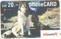 LIECHTENSTEIN - Dog, Telecom FL Prepaid Card CHF 20, Exp.date 07/05, Used - Liechtenstein