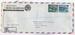 REGISTERED Air Mail JAMAICA COVER Stamps 1969  C DAY OVPT 30c On 3/- BLUE MERLIN FISH , 8c On GYPSOM - Jamaica (1962-...)