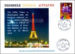 ALGERIEN 2016 Cover Brussels Bruxelles Terrorist Attacks Cancelled Date Of Attacks Flag Flags Light Brussel - Enveloppes