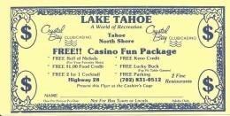 Crystal Bay Casino Lake Tahoe NV - Paper Casin Fun Package Certificate/Coupon - Advertising