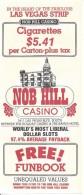 Nob Hill Casino Las Vegas, NV - Paper Free Funbook Certificate - Advertising
