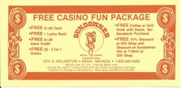Sundowner Casino Reno, NV - Paper Free Casino Fun Package Certificate/Coupon - Advertising