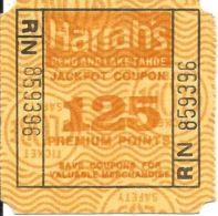Harrah's Reno/Lake Tahoe - 125 Point Square Jackpot Coupon - Large N On Back - Casino Cards
