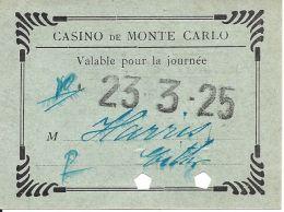 Casino De Monte Carlo Entry Pass From 1925 - Casino Cards