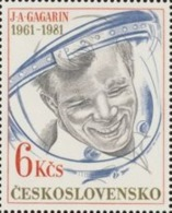 Czechoslovakia / Stamps (1981) 2482: 20th Anniv. Of Flight - Yuri Alekseyevich Gagarin (1934-1968); Painter: Jozef Balaz