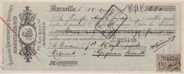 AUGUSTE GIRAUD / ENGRAIS & SOUFFRES / MARSEILLE / 1897 / TIMBRE 15 C - Wissels