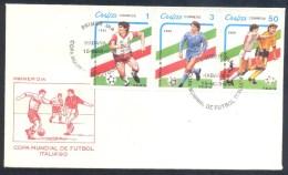 Cuba 1989 FDC Cover: Football Fussball Soccer Calcio; FIFA World Cup 1990 Italia : Weltmeisterschaft; Mundial; Mondial - Wereldkampioenschap