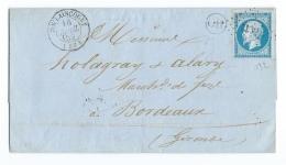 LETTRE 20 C EMPIRE  N°14 DOULAINCOURT   A  BORDEAUX   PC - Marcophilie (Lettres)