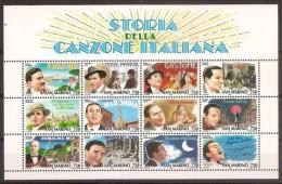 1996 San Marino Saint Marin CANZONE ITALIANA Foglietto MNH** Souv. Sheet - Musica