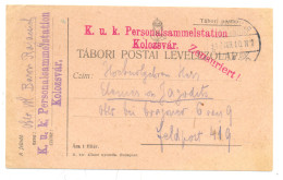 KOLOZSVAR K.u.K PERSONALSMMELSTATION  ZENSURIERTYEAR 1917 - Roemenië