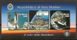 1998 San Marino Saint Marin VOLO BANDIERA NELLO SPAZIO Foglietto MNH** Souv. Sheet FLAG IN THE SPACE - Europe