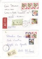 Fb502 - REPUBBLICA CASTELLI , 800 Lire In Quattro Diverse Affrancature Raccomandate - 1961-70: Marcophilia