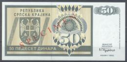Croatia – R.S. Krajina (Knin) 50 Dinara 1992 SPECIMEN UNC; P R2s - Kroatien