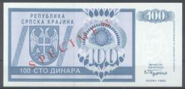Croatia – R.S. Krajina (Knin) 100 Dinara 1992 SPECIMEN UNC; P R3s - Kroatien