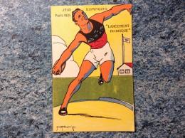 """CARTE POSTALE        JEUX OLYMPIQUES DE 1924  PARIS """" LANCEMENT DU DISQUE  VOIR PHOTOS - Jeux Olympiques"""