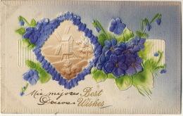 Carte Tres Epaisse Gauffrée Genre Velours Avec Moulin A Vent Et Myosotis Thick Velvet Card With Windmill. - Cartes Postales