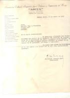 CARLOS ALBERTO ERRO AGRADECE EN UNA CARTA DE 1953 AL GENERAL JUAN ESTEBAN VACAREZZA POR COMENTARIOS DEL GENERAL RELACIO - Documents Historiques