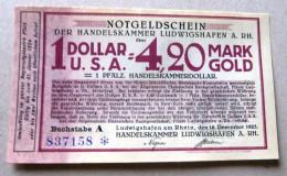 LUDWIGSHAFEN A. Rh. 4,20 Goldmark,  Size 140 X 82, RRRRR, UNC, ! Extrem Scarce!!! Notgeld, Mit Serien-Nr. - 1918-1933: Weimarer Republik