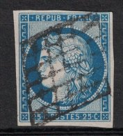 France - TB Timbres Ceres N°4 25c Bleu (tendance Bleu-foncé) VERSO OK + 4 MARGES - 1849-1850 Ceres